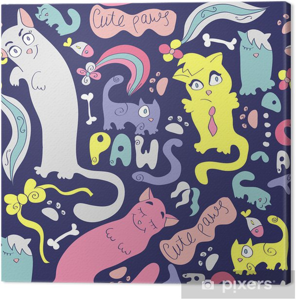 Tableau sur toile Colorful seamless avec différents chats mignons - Ressources graphiques