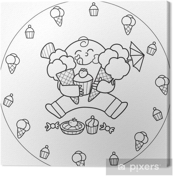Tableau Sur Toile Coloriage Garcon Mangeant Une Creme Glacee Et De Toutes Sortes De Bonbons Pixers Nous Vivons Pour Changer