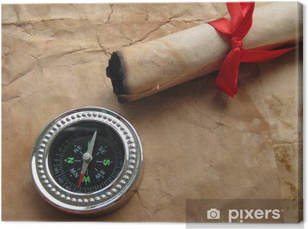 Tableau sur toile Compass et lettre ancienne avec du ruban rouge - Autres objets