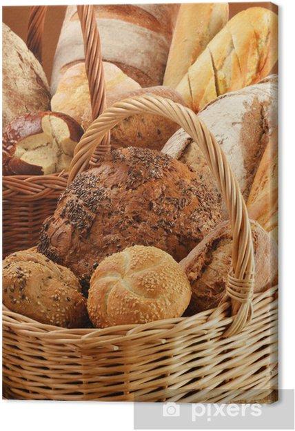 Tableau sur toile Composition avec du pain et des petits pains dans des paniers en osier - Thèmes