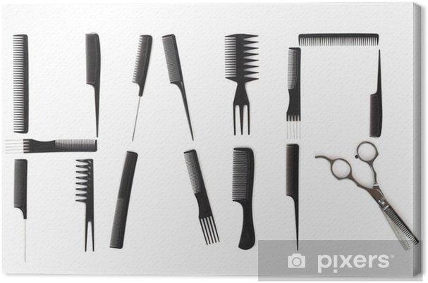 tableau sur toile concept de coiffure peignes utilis s pour crire cheveux pixers nous. Black Bedroom Furniture Sets. Home Design Ideas