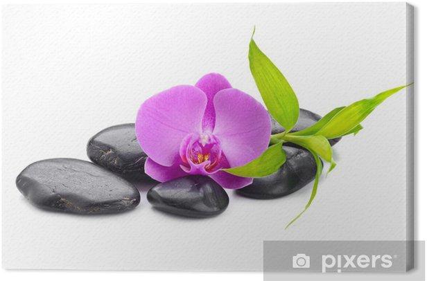Tableau sur toile Concept de spa avec des pierres zen basalte bambou pierre et orchidée - Beauté et soins du corps