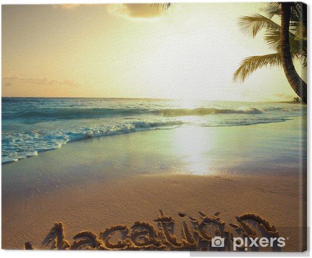 Tableau sur toile Concept de vacances d'été d'art - texte de vacances sur un océan de sable BEAC - Vacances