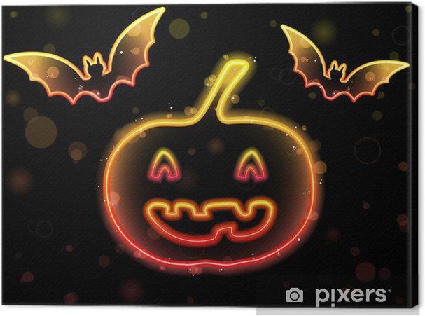 Tableau sur toile Contexte Halloween Neon au potiron et chauves-souris - Mammifères