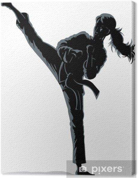 Tableau sur toile Contour de l\'ombre d\'une jeune fille de faire un ...