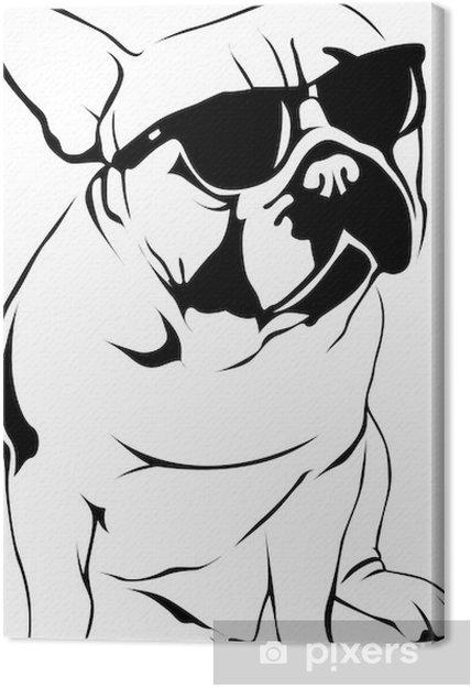 Tableau sur toile Cool Boy - Bouledogue français - Sticker mural