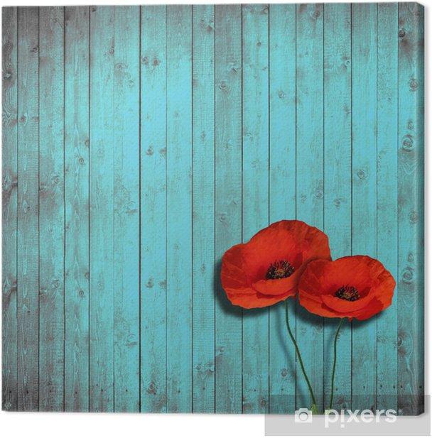 Tableau sur toile Coquelicots de fleurs et de bois de fond turquoise - iStaging