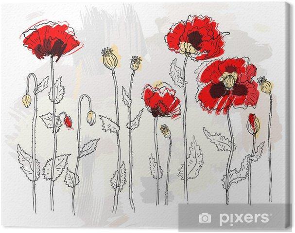 Tableau sur toile Coquelicots rouges sur un fond blanc - Fleurs