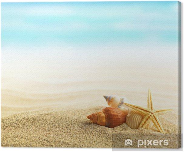 Tableau sur toile Coquillages et étoiles de mer sur la plage de sable - Vacances