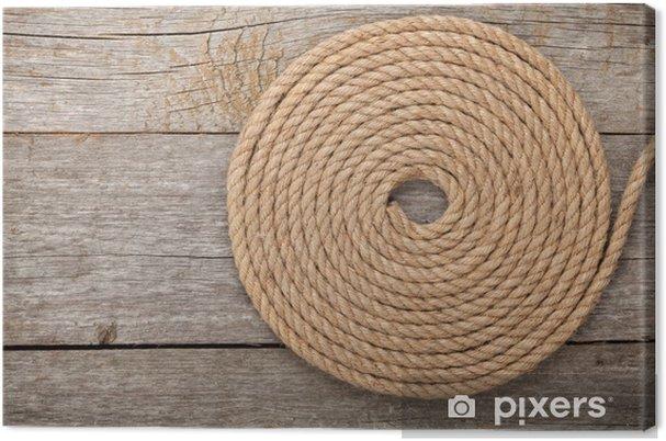 Tableau sur toile Corde de bateau en bois sur fond de texture - Océanie