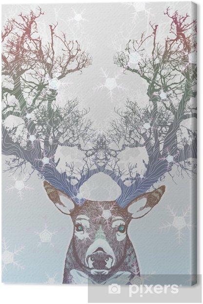 Tableau sur toile Corne Frozen arbre cerf -