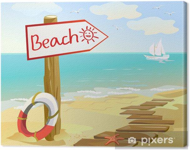 Tableau sur toile Côte avec un pointeur - Vacances