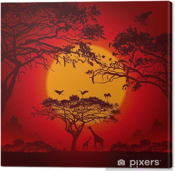 Tableau Sur Toile Coucher De Soleil Africain