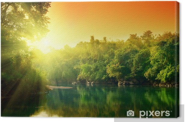 Tableau sur toile Coucher de soleil dans la jungle de la Thaïlande - Thèmes