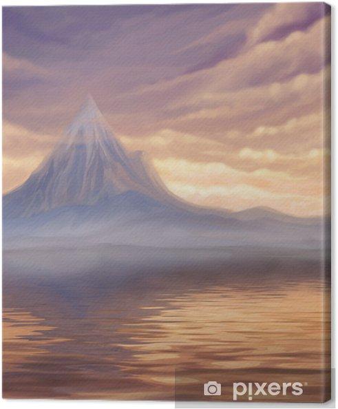 Tableau Sur Toile Coucher De Soleil Paysage Avec Lac Et Montagne