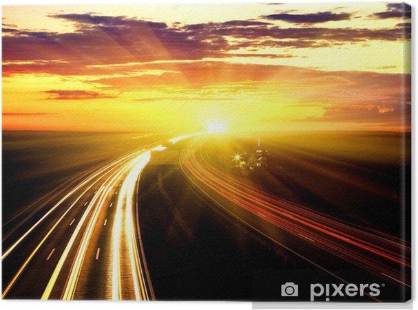 Tableau coucher de soleil et autoroute 1 tableaux sur toile coucher de soleil sur l 39 autoroute