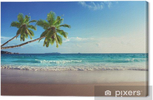 Tableau sur toile Coucher de soleil sur la plage des Seychelles - Palmiers