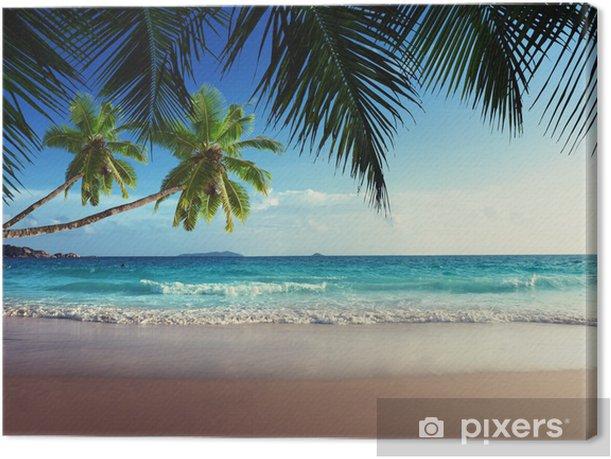 Tableau sur toile Coucher de soleil sur la plage des Seychelles - iStaging