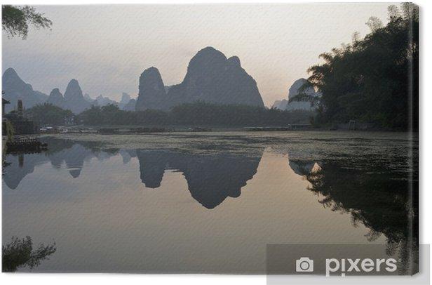 Tableau sur toile Coucher de soleil sur la rivière Li, Chine - Asie