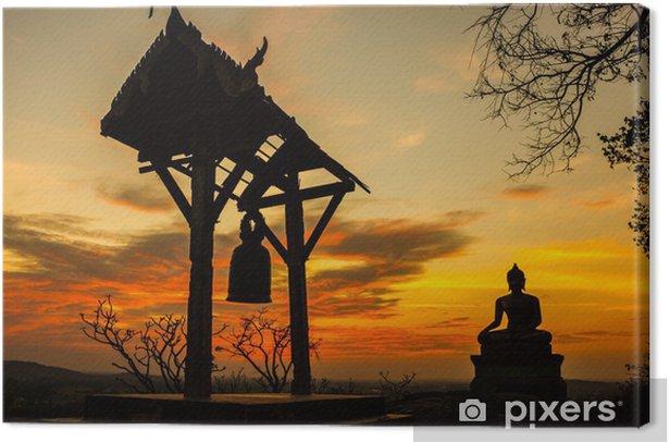 Tableau sur toile Coucher de soleil vieux temple Wat Praputtachai à Saraburi, en Thaïlande - Thèmes