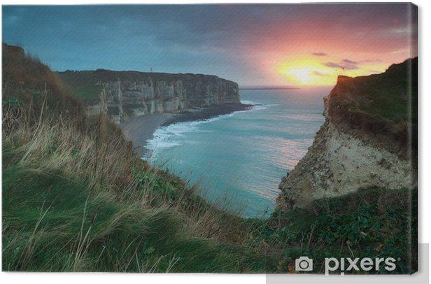 Tableau sur toile Coucher du soleil pourpre spectaculaire sur l'océan Atlantique - Ciel