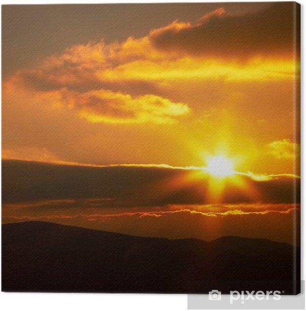 Tableau sur toile Coucher du soleil rouge - Ciel