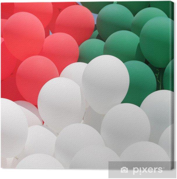 Tableau sur toile Couleurs de l'Italie, rouge, vert et ballons blancs - Réussite