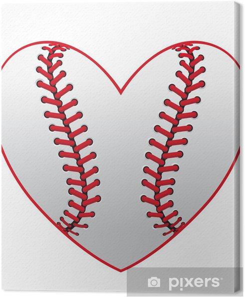 Tableau sur toile Cœur de baseball - Sports collectifs