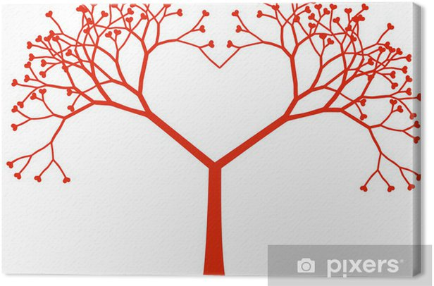 Tableau sur toile Cœur de l'arbre, vecteur - Bonheur