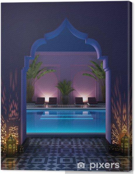 Tableau sur toile Cour riad marocain avec une piscine - Propriétés privées