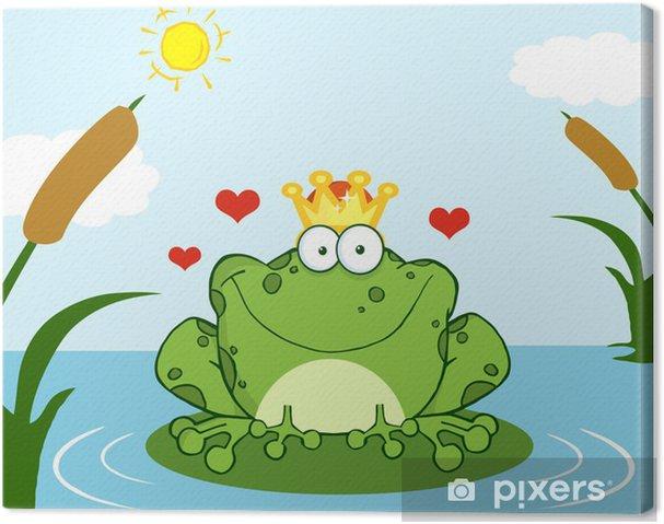 Grenouille Couronne tableau sur toile couronné prince grenouille sur une feuille dans le
