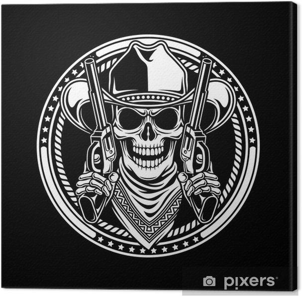 Tableau sur toile Cowboy Skull Tenir Guns - Signes et symboles