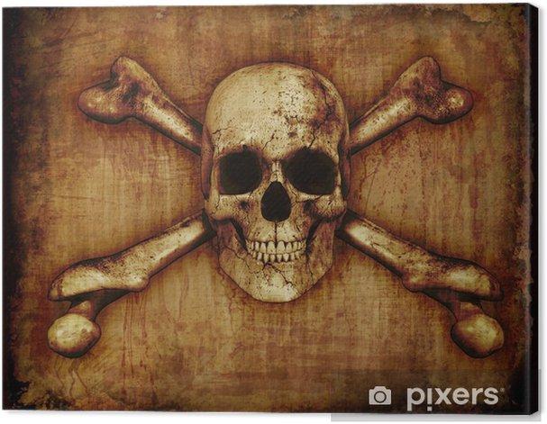 Tableau sur toile Crâne et os croisés sur parchemin - Fêtes internationales