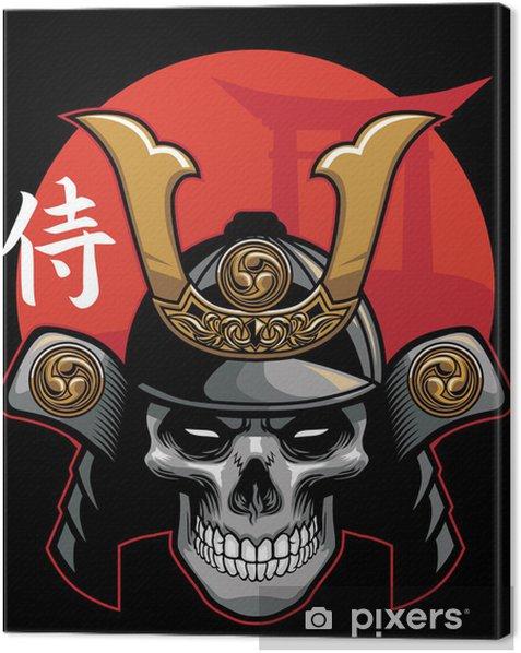 Tableau sur toile Crâne portant une armure de samouraï - Asie