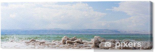 Tableau sur toile Cristalline du sel sur la plage de la Mer Morte - Moyen Orient