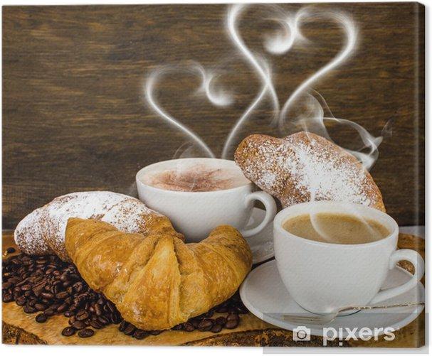 Tableau sur toile Croissants et café à la vapeur en forme de coeur - Repas