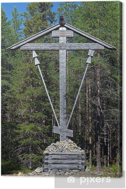 Tableau sur toile Croix de bois sur l'île Bolshoy Solovetsky, Russie - Asie