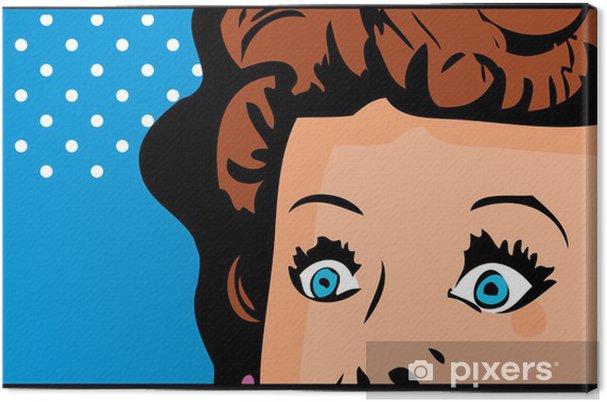 Tableau sur toile Cropped visage de femme pop art bannière bande dessinée avec les yeux grands ouverts - Thèmes