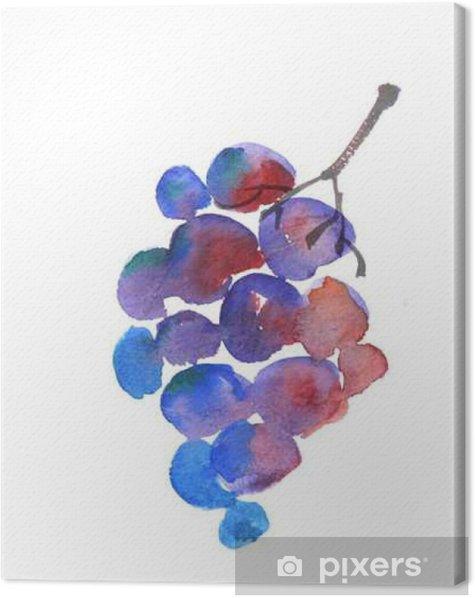 Tableau sur toile Croquis aquarelle de raisin bleu. vin tiré la main grappe de raisin - Ressources graphiques