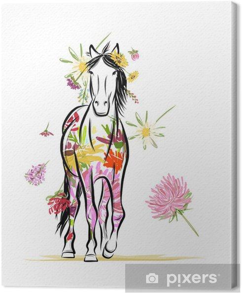 Tableau sur toile Croquis de cheval avec décor floral pour votre design. Symbole du - Sticker mural