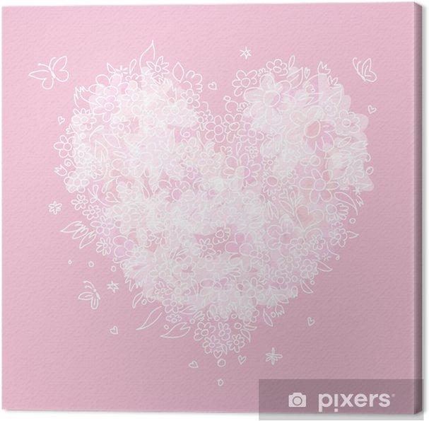 Tableau sur toile Croquis de forme de coeur floral pour votre conception - Fêtes internationales