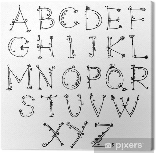 Tableau sur toile Croquis de l'alphabet floral pour votre conception - Education