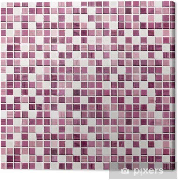 Tableau sur toile Cuisine ou salle de bains carrelée mur violet - Textures