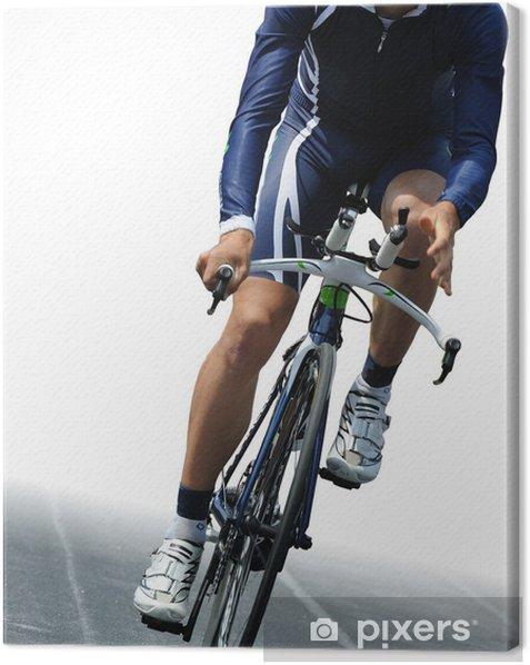 Tableau sur toile Cycliste isolé sur fond blanc - Thèmes