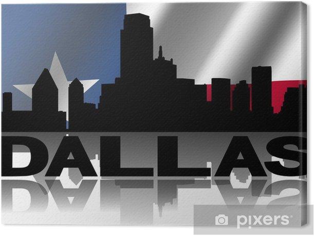 Tableau sur toile Dallas texte horizon reflète ridée Texan drapeau illustration -