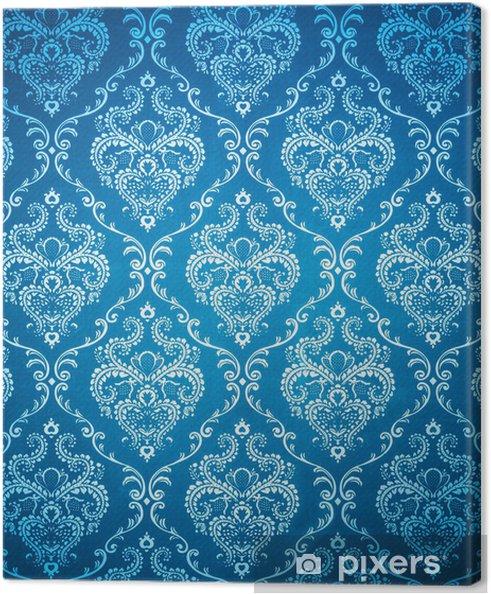 Tableau Sur Toile Damas Transparente Papier Peint Bleu Pixers