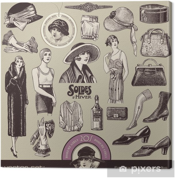 Tableau sur toile Dames de mode et accessoires sont des années 20 - Mode