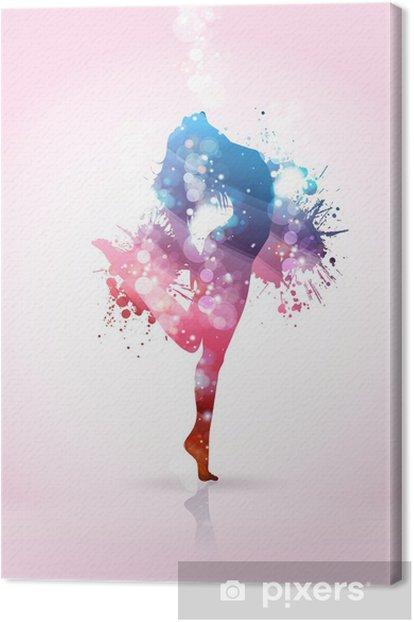 Tableau sur toile Danse de fille avec des taches de couleur - Thèmes