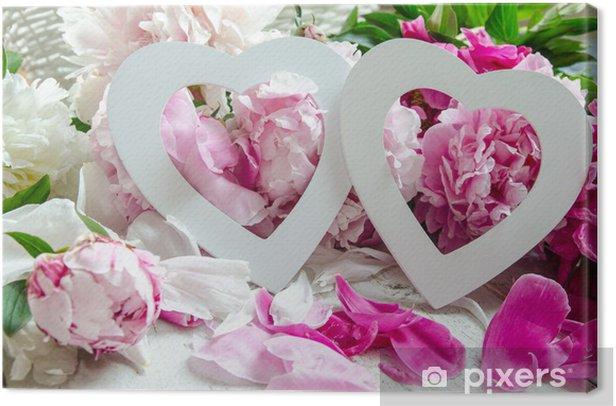 Tableau sur toile Décoration de mariage: Deux coeurs et pivoines :) - Célébrations