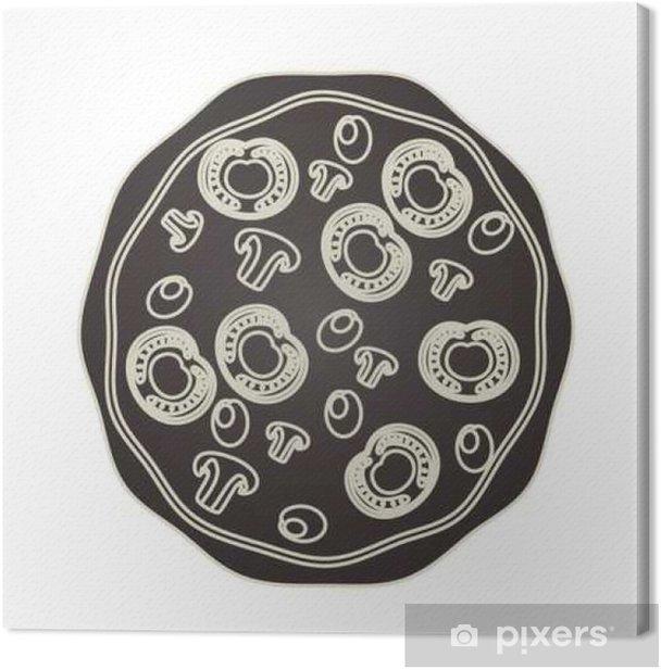 Tableau sur toile Délicieuse pizza italienne icône vecteur illustration design - Nourriture